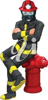 Illustration of a fireman sitting above the hydrant on a white background