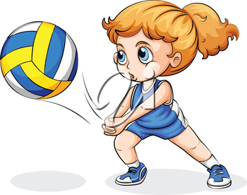 Illustration of a Caucasian girl playing volleyball on a white background