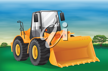 Illustration showing the bulldozer