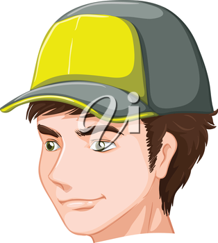 Illustration of a boy wearing a cap on a white background