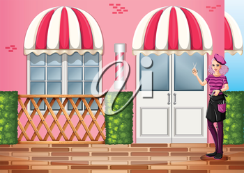 Illustration of a hairdresser in front of the restaurant