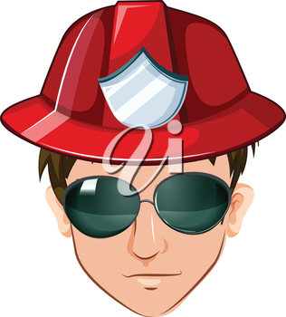 Illustration of a head of a fire marshall on a white background