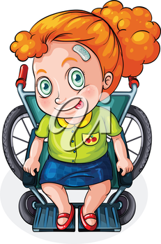 Illustration of a Caucasian lady riding on a wheelchair on a white background