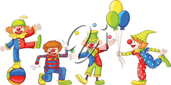 Coloured sketches of the four playful clowns on a white background