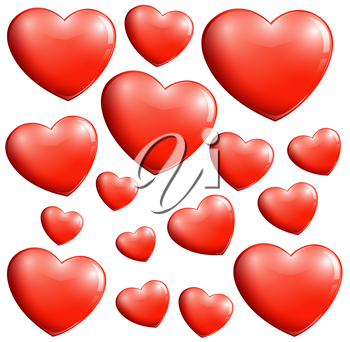 Illustration of the small and big hearts on a white background