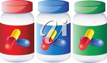 Illustration of the capsules inside the medical bottles on a white background