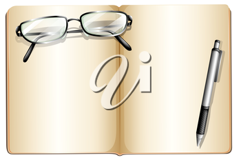 Illustration of an empty book with an eyeglass and a ballpen on a white background