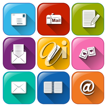 Illustration of the mail icons on a white background
