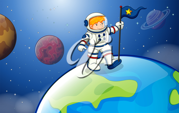 Illustration of a young astronaut in the outerspace