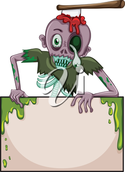 lllustration of a zombie holding an empty signboard on a white background