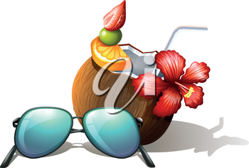 lllustration of a refreshing drink and a sunglasses for a beach outing on a white background