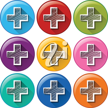 Circle buttons with the addition operation on a white background