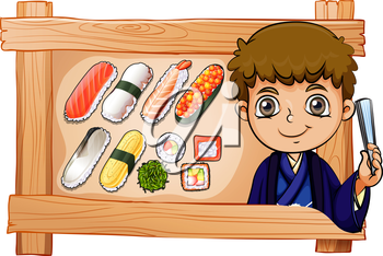 Illustration of a frame with a boy beside the delectable sushi on a white background