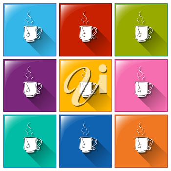 Illustration of the buttons with hot tea on a white background