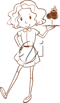 lllustration of a simple sketch of a waitress on a white background