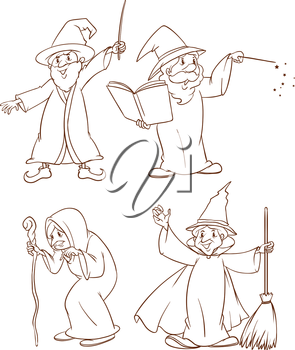 Plain drawing of the four wizards on a white background