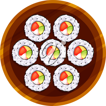 Illustration of a topview of the sushi at the table on a white background