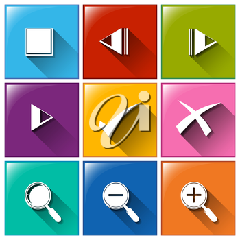 Illustration of the icons with different symbols on a white background