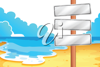 Illustration of the empty signboards at the beach on a white background