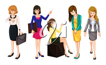 Illustration of the working women on a white background