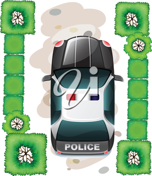 Illustration of a topview of a police car on a white background