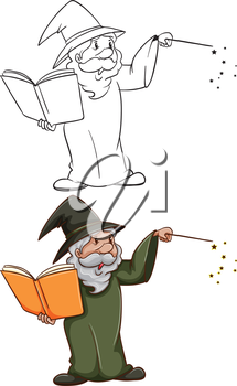 Illustration of the simple and coloured sketches of a wizard on a white background