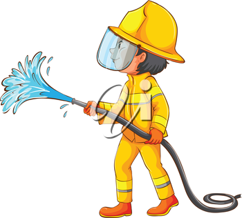 Illustration of a simple drawing of a firefighter on a white background