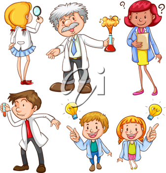 Illustration of many scientists