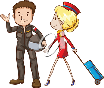 Illustration of a simple sketch of a pilot and a stewardess on a white background