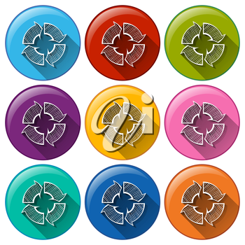Illustration of the buttons with recycle arrows on a white background