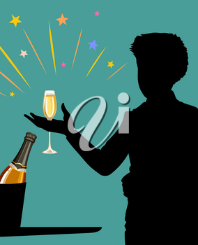 Man with champagne glass in his hand illustration