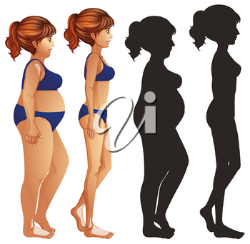 Skinny and fat women with sillhouette on white background illustration