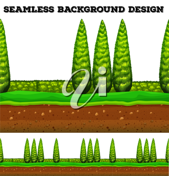 Seamless background with trees in the park illustration