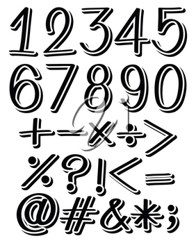 Set of numbers and maths symbols in black color