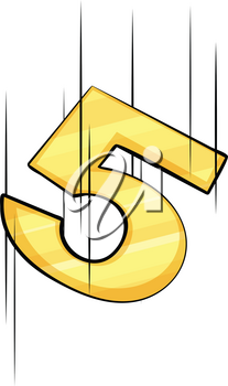 Digit five in yellow color