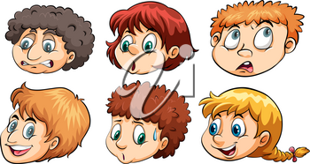 A group of heads with different emotions on a white background