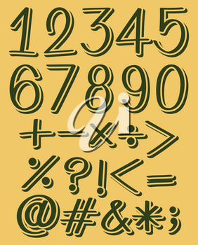 Set of numeric figures in green color