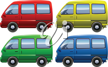 Set of colourful vans on a white background