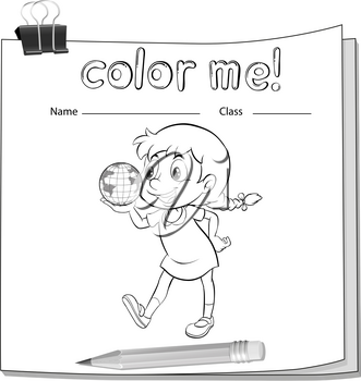 Coloring worksheet with a little girl holding a globe on a white background