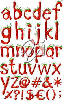 Small letters of the alphabet in strawberry template on a white background