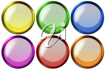 Six different color of round buttons in simple design