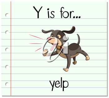 Flashcard letter Y is for yelp illustration