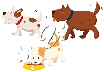Dogs walking and muching illustration