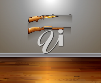 Two classic design of rifles hanging on the wall