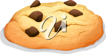 Chocolate chip cookie on white illustration
