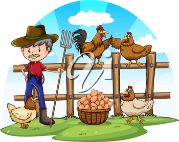 Chicken farmer with eggs illustration