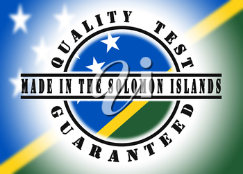 Quality test guaranteed stamp with a national flag inside, the Solomon Islands