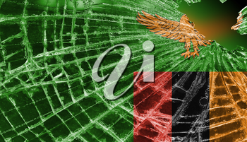 Broken ice or glass with a flag pattern, isolated, Zambia