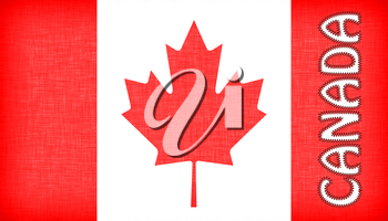 Flag of Canada with letters stiched on it