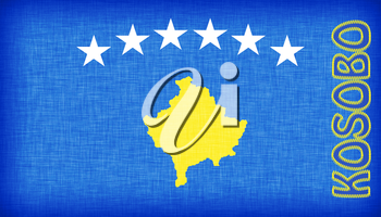 Linen flag of Kosovo with letters stiched on it